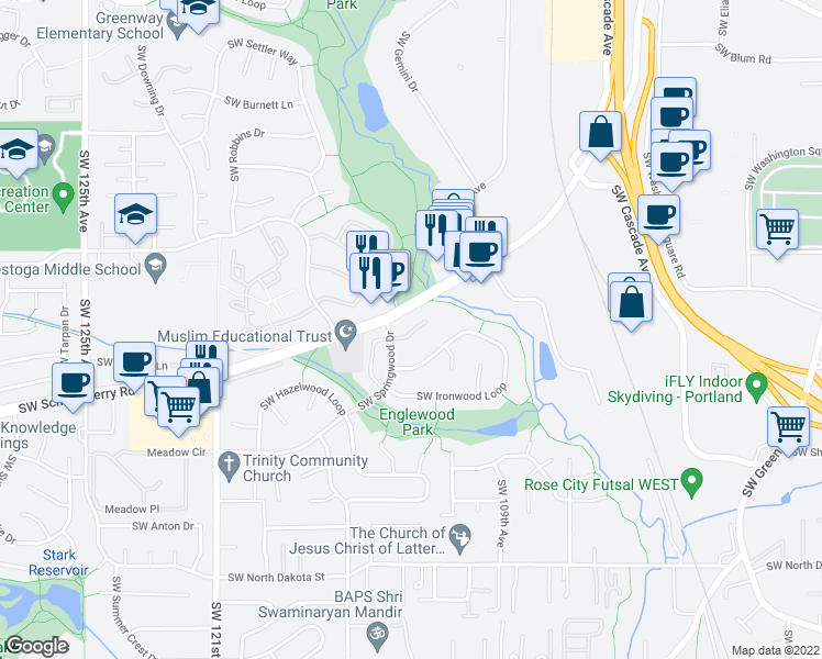 map of restaurants, bars, coffee shops, grocery stores, and more near 10960 Southwest Springwood Drive in Tigard