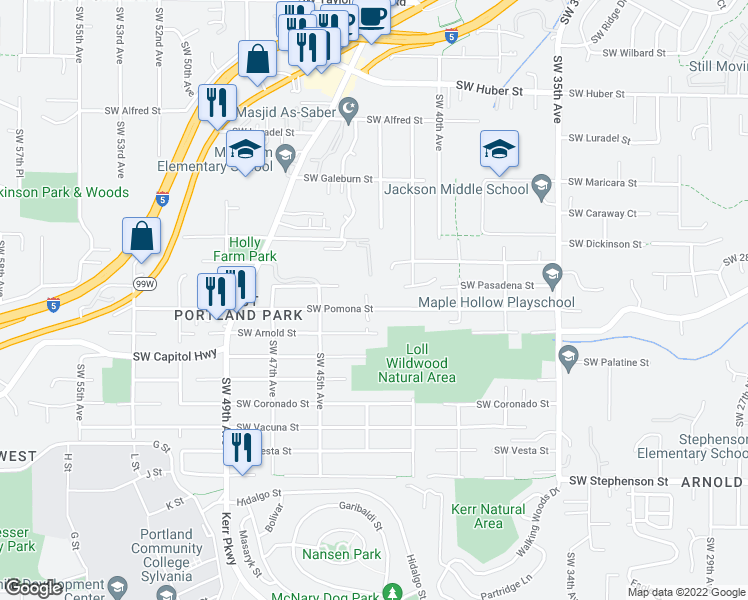 map of restaurants, bars, coffee shops, grocery stores, and more near 4233 Southwest Pomona Street in Portland
