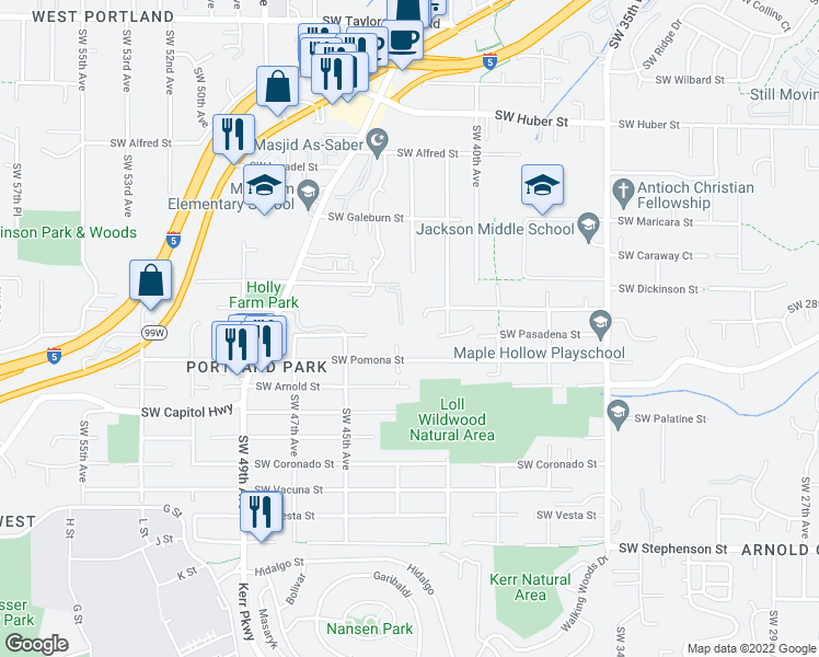 map of restaurants, bars, coffee shops, grocery stores, and more near 4233 Southwest Comus Street in Portland