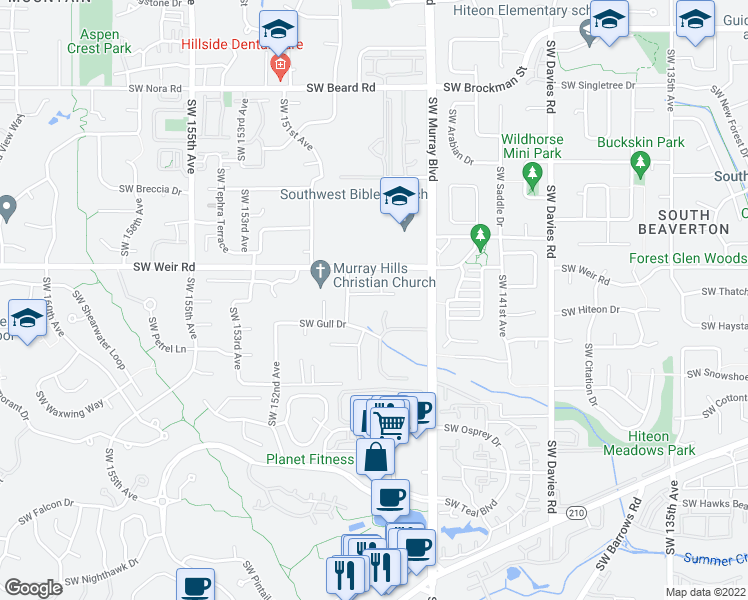 map of restaurants, bars, coffee shops, grocery stores, and more near 14730 Southwest Grebe Lane in Beaverton