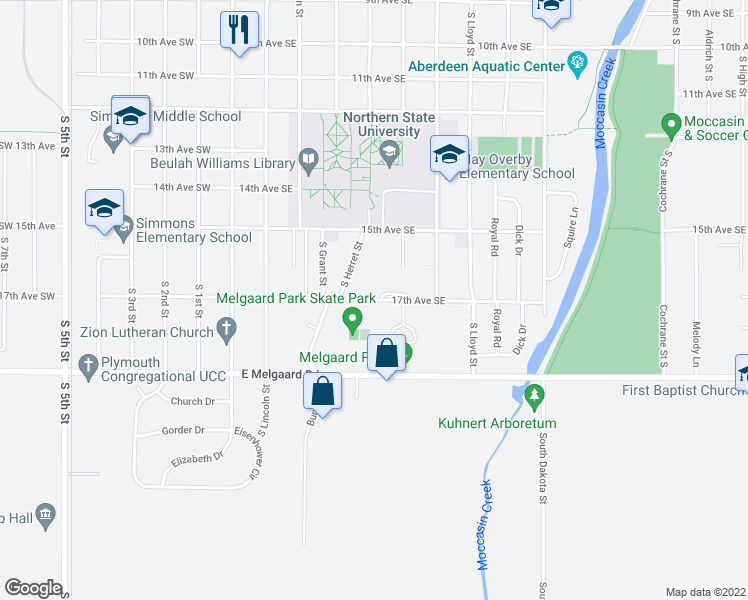 map of restaurants, bars, coffee shops, grocery stores, and more near 435-473 17th Avenue Southeast in Aberdeen