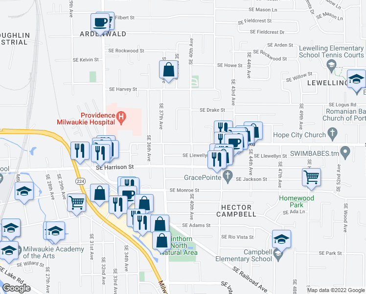 map of restaurants, bars, coffee shops, grocery stores, and more near 3902 Southeast King Road in Milwaukie