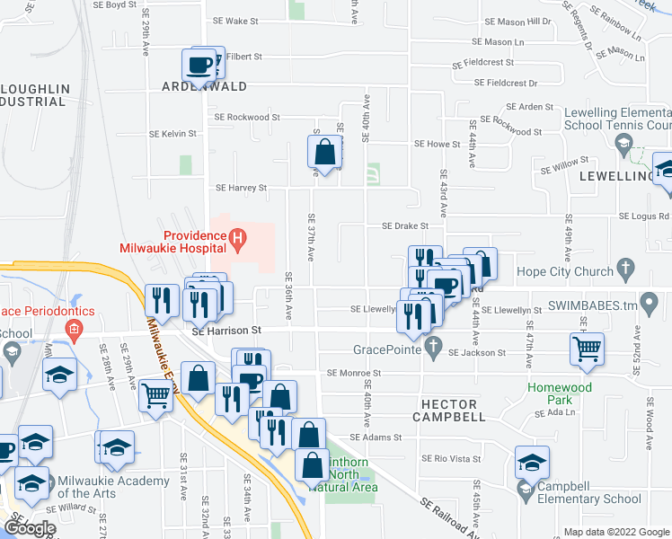map of restaurants, bars, coffee shops, grocery stores, and more near 10335 Southeast 38th Avenue in Milwaukie