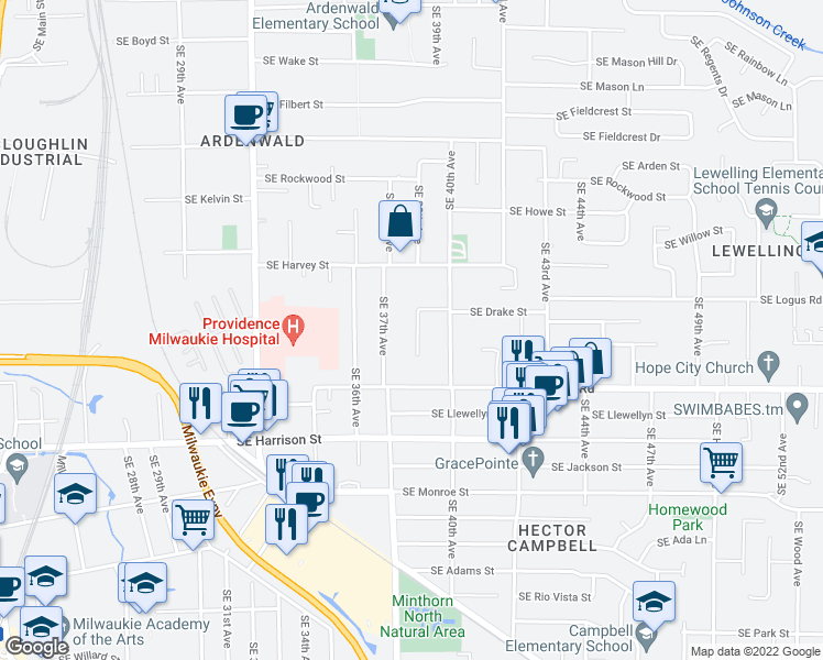 map of restaurants, bars, coffee shops, grocery stores, and more near 10185 SE 38th Ave in Milwaukie