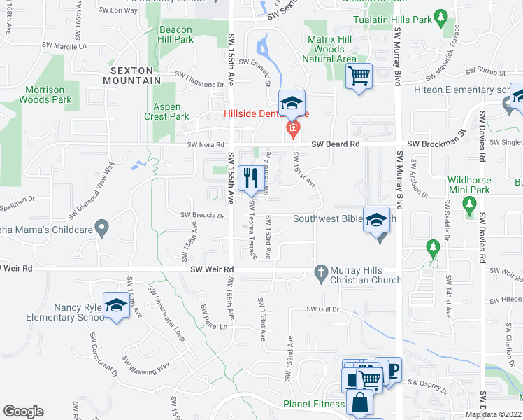 map of restaurants, bars, coffee shops, grocery stores, and more near 15325 Southwest Sapphire Drive in Beaverton