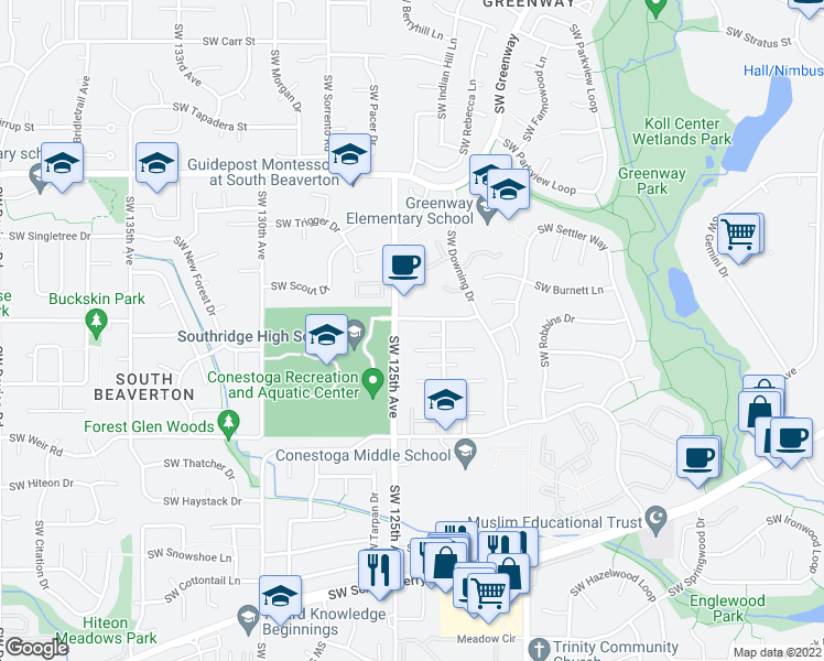 map of restaurants, bars, coffee shops, grocery stores, and more near 12450 Southwest Longhorn Lane in Beaverton