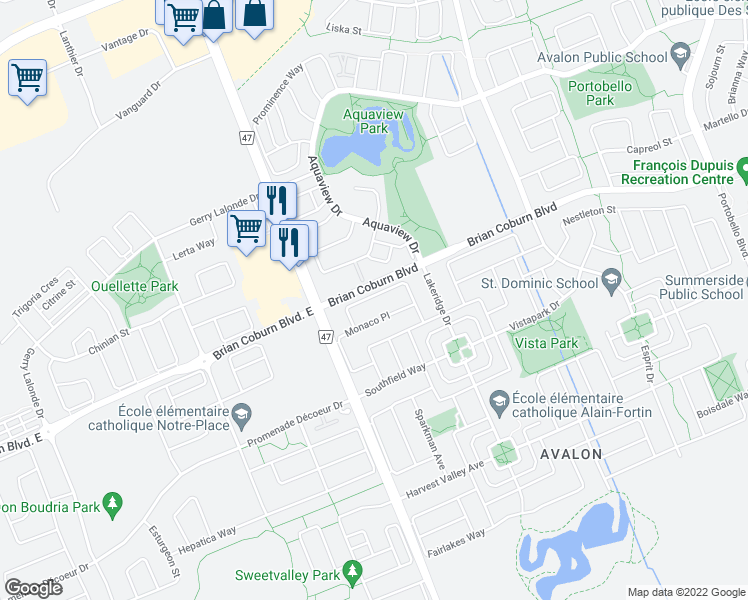 map of restaurants, bars, coffee shops, grocery stores, and more near 324 Selene Way in Ottawa