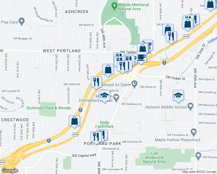 map of restaurants, bars, coffee shops, grocery stores, and more near 4725 Southwest Luradel Street in Portland