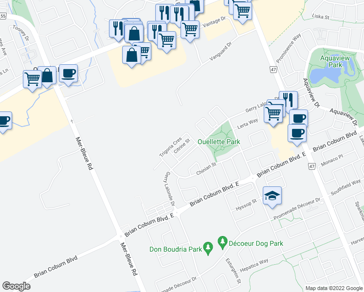 map of restaurants, bars, coffee shops, grocery stores, and more near Citrine Street in Ottawa