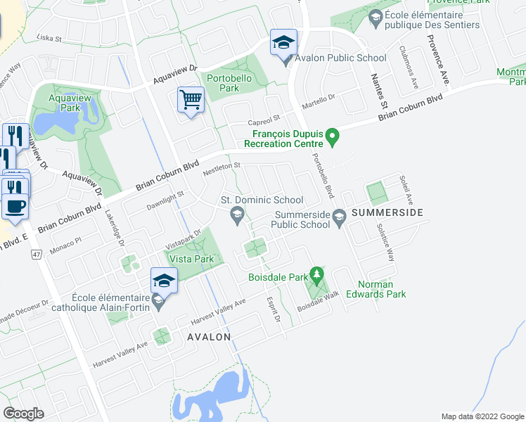 map of restaurants, bars, coffee shops, grocery stores, and more near 147 Waterfern Way in Ottawa