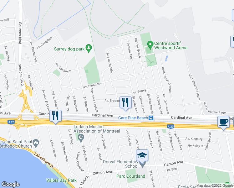 map of restaurants, bars, coffee shops, grocery stores, and more near 3002 Avenue Surrey in Dorval