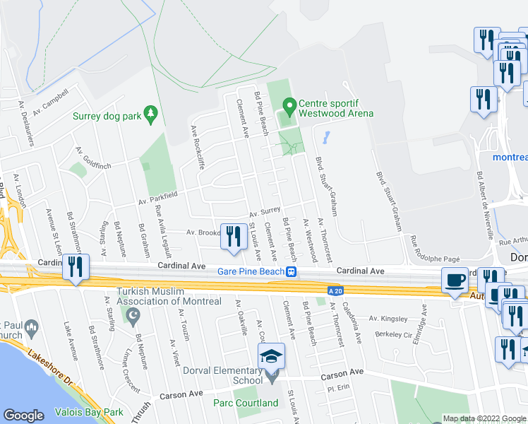 map of restaurants, bars, coffee shops, grocery stores, and more near Avenue Surrey in Dorval