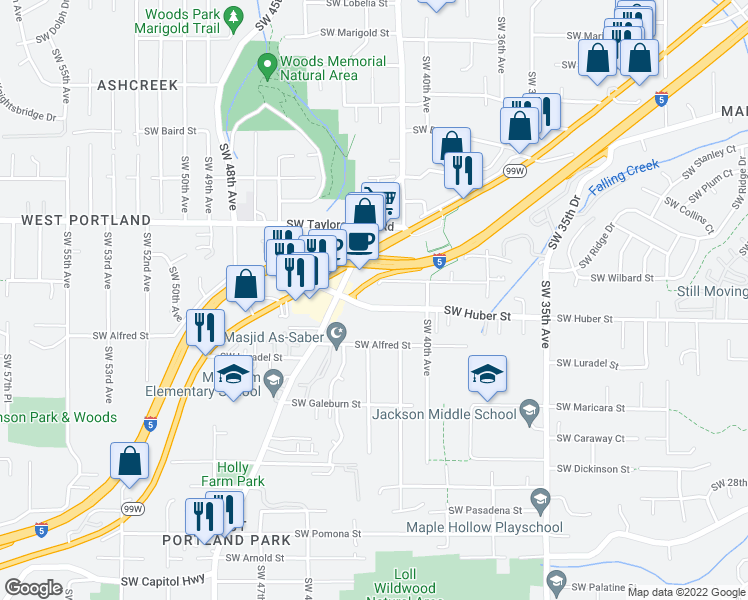 map of restaurants, bars, coffee shops, grocery stores, and more near 4213 Southwest Huber Street in Portland