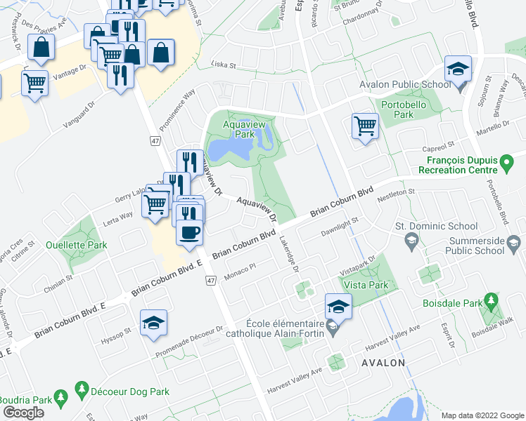 map of restaurants, bars, coffee shops, grocery stores, and more near 271 Aquaview Drive in Ottawa