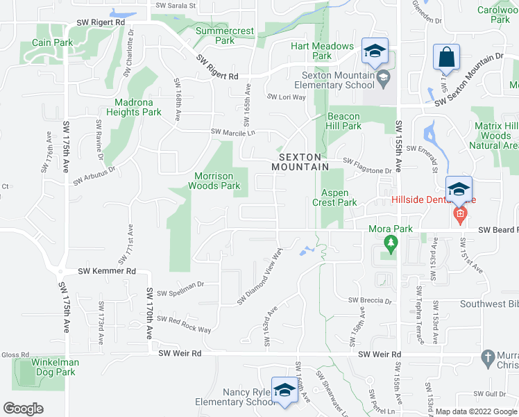 map of restaurants, bars, coffee shops, grocery stores, and more near 16316 Southwest Cornelian Way in Beaverton