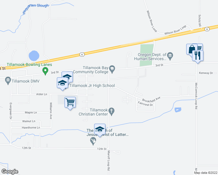 map of restaurants, bars, coffee shops, grocery stores, and more near 502 Marolf Loop Road in Tillamook