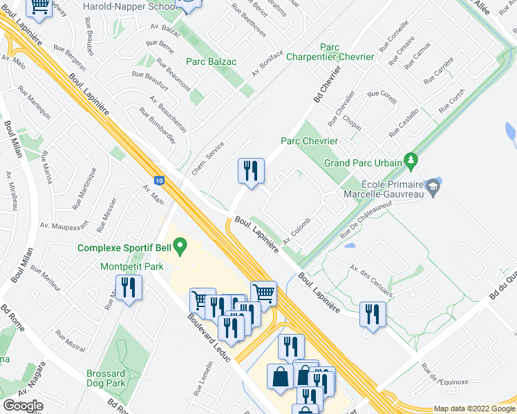map of restaurants, bars, coffee shops, grocery stores, and more near 5285 Avenue Colomb in Brossard