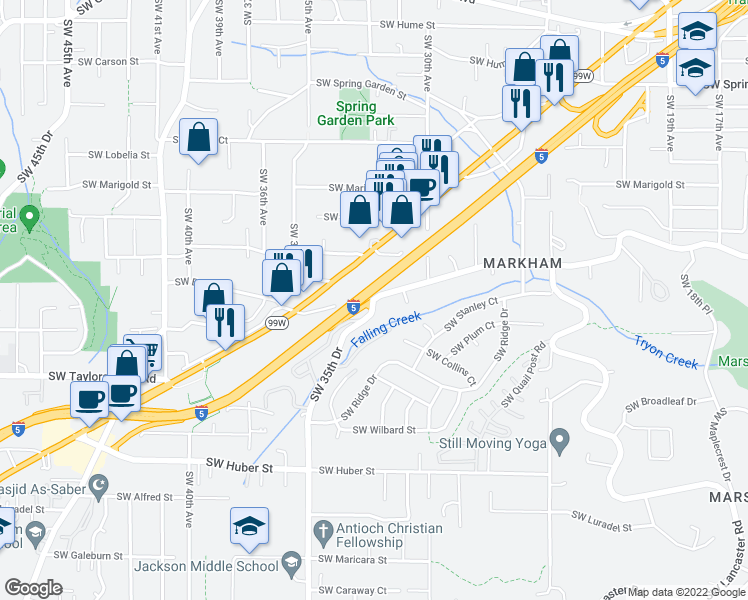 map of restaurants, bars, coffee shops, grocery stores, and more near Southwest Taylors Ferry Road & Southwest 35th Drive in Portland