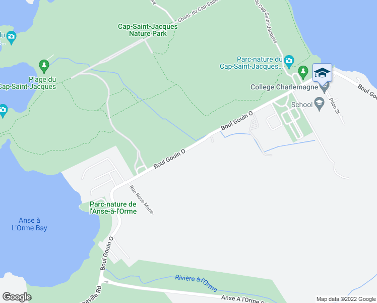 map of restaurants, bars, coffee shops, grocery stores, and more near 20752 Boulevard Gouin Ouest in Montréal