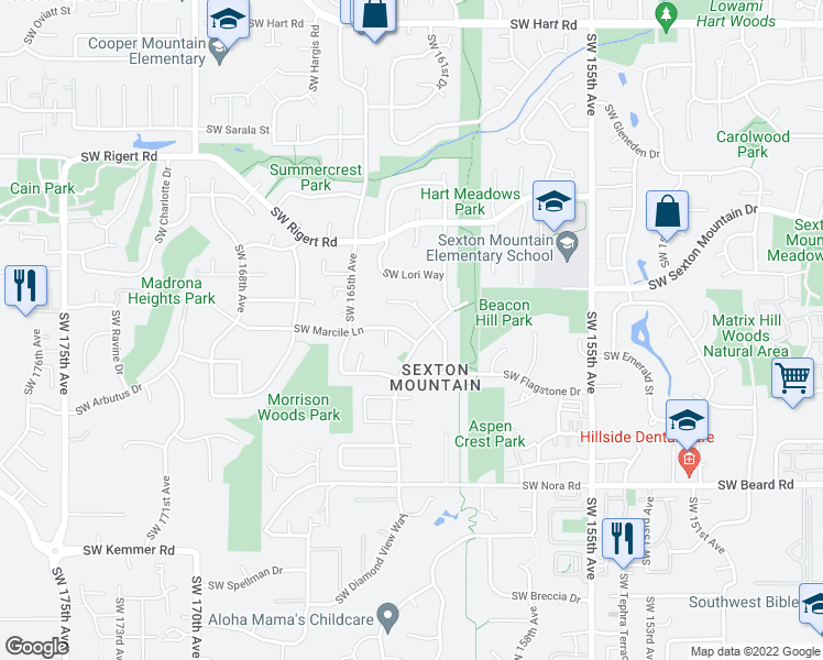 map of restaurants, bars, coffee shops, grocery stores, and more near 16245 Southwest Marcile Lane in Beaverton