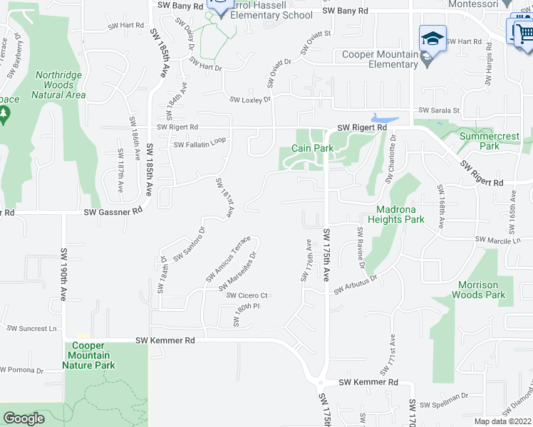 map of restaurants, bars, coffee shops, grocery stores, and more near 17980 Southwest Shadypeak Lane in Beaverton