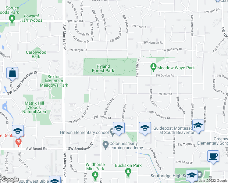 map of restaurants, bars, coffee shops, grocery stores, and more near 8430 Southwest Halter Terrace in Beaverton