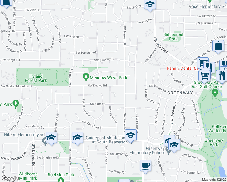 map of restaurants, bars, coffee shops, grocery stores, and more near 12915 Southwest Morgan Court in Beaverton