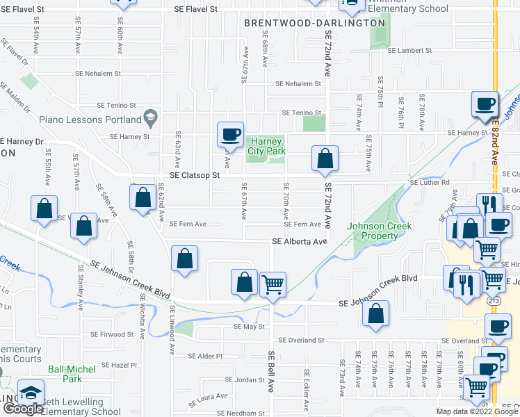 map of restaurants, bars, coffee shops, grocery stores, and more near 6891 Southeast Hazel Avenue in Portland