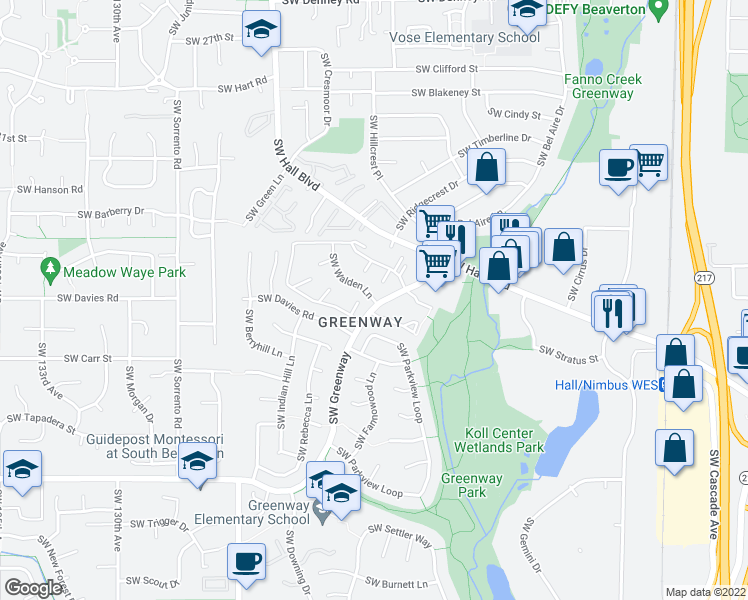 map of restaurants, bars, coffee shops, grocery stores, and more near 8314-8324 Southwest Greenway Boulevard in Beaverton