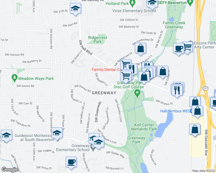 map of restaurants, bars, coffee shops, grocery stores, and more near 8320 Southwest Greenway Boulevard in Beaverton