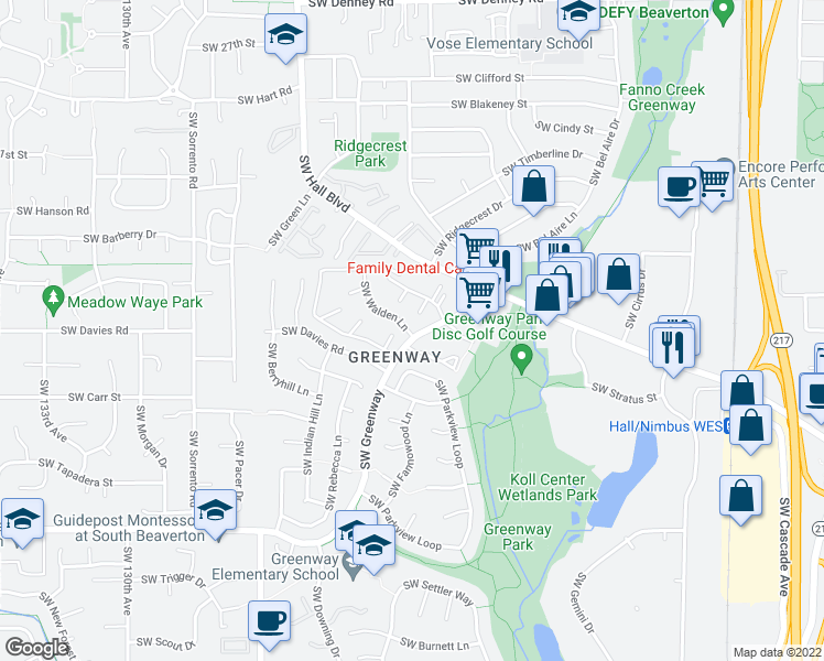 map of restaurants, bars, coffee shops, grocery stores, and more near 12015 Southwest Walden Lane in Beaverton