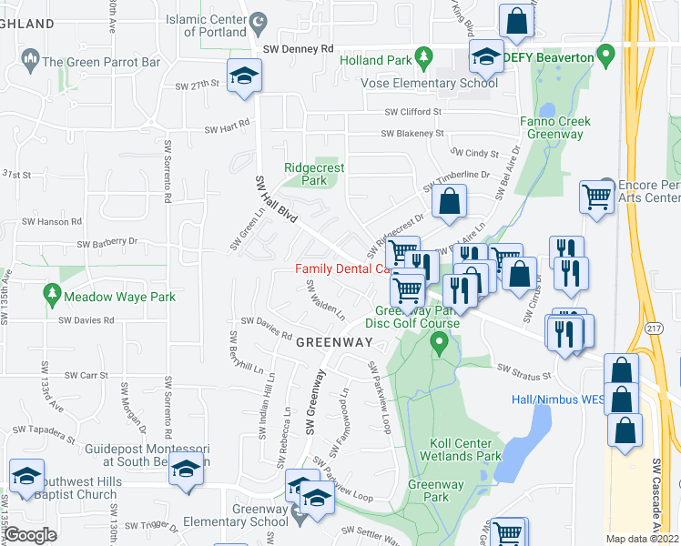 map of restaurants, bars, coffee shops, grocery stores, and more near 9790 Southwest Nimbus Avenue in Beaverton