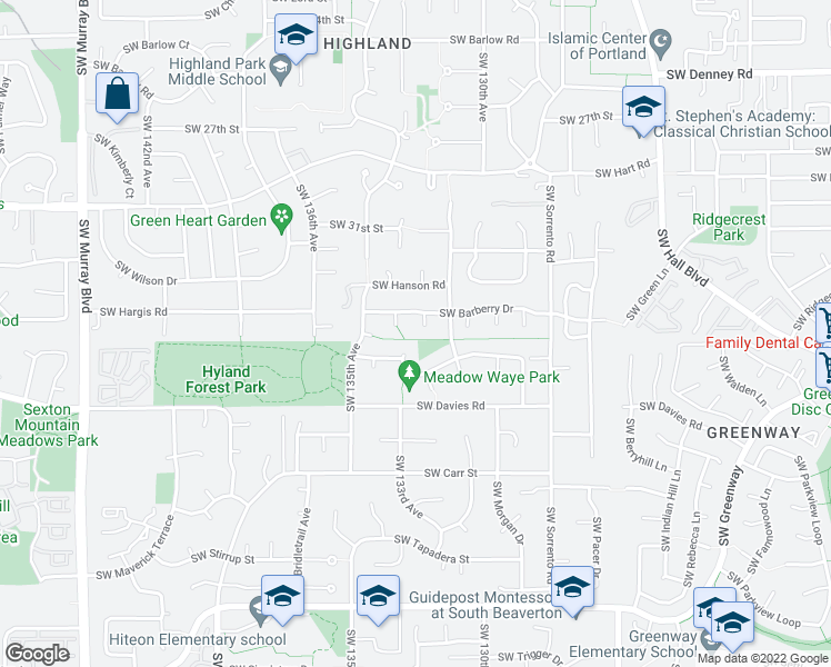 map of restaurants, bars, coffee shops, grocery stores, and more near 7945 Southwest Lantana Place in Beaverton