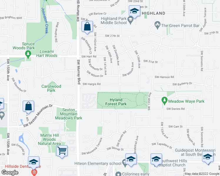 map of restaurants, bars, coffee shops, grocery stores, and more near 14050 Southwest Hargis Road in Beaverton