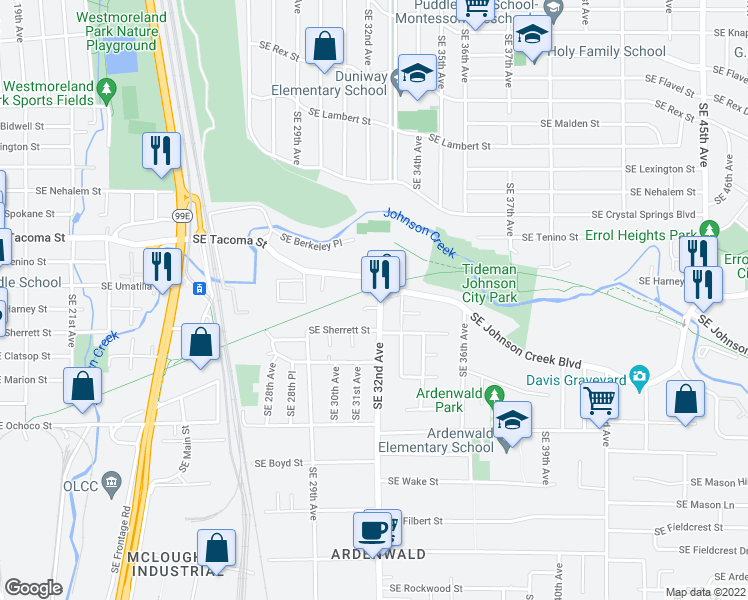 map of restaurants, bars, coffee shops, grocery stores, and more near 8401 Southeast 32nd Avenue in Portland