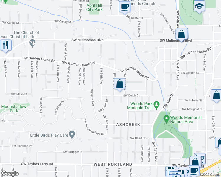 map of restaurants, bars, coffee shops, grocery stores, and more near 8625 Southwest 54th Avenue in Portland