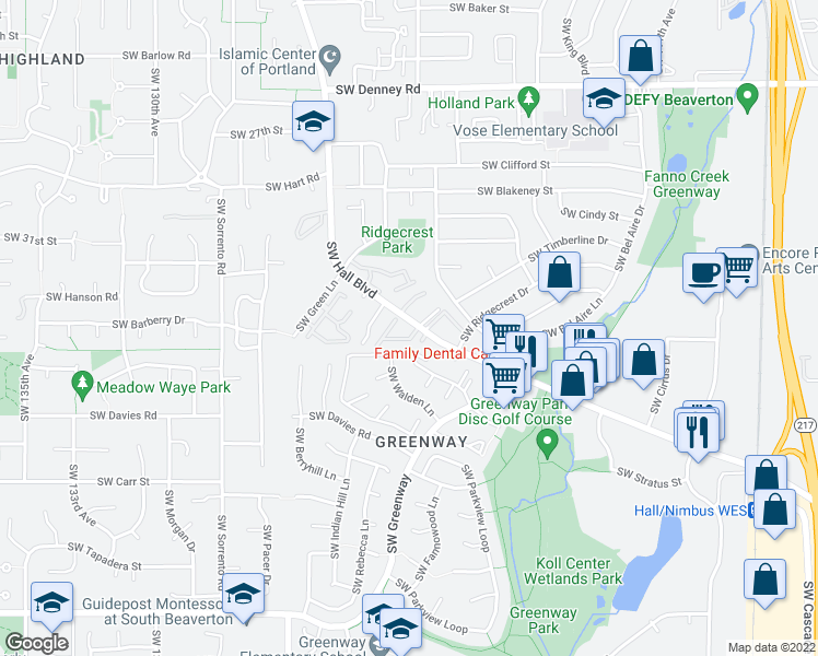 map of restaurants, bars, coffee shops, grocery stores, and more near 7915 Southwest Hall Boulevard in Beaverton