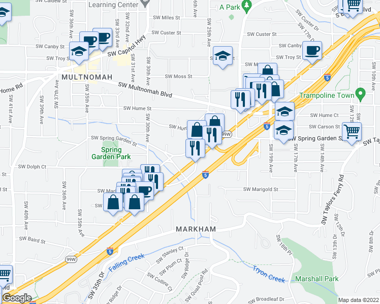 map of restaurants, bars, coffee shops, grocery stores, and more near 8715-8785 Southwest Barbur Boulevard in Portland