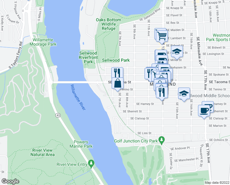 map of restaurants, bars, coffee shops, grocery stores, and more near 8220 Southeast 6th Avenue in Portland