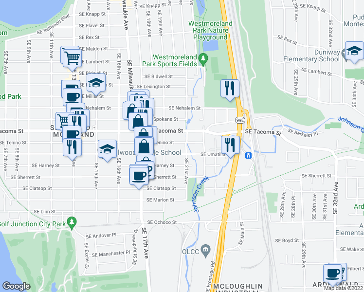 map of restaurants, bars, coffee shops, grocery stores, and more near 2026 Southeast Tenino Street in Portland
