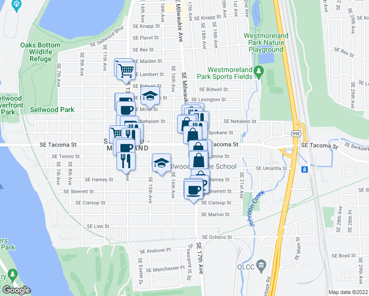 map of restaurants, bars, coffee shops, grocery stores, and more near 1640 Southeast Tacoma Street in Portland