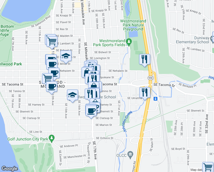 map of restaurants, bars, coffee shops, grocery stores, and more near 1904 Southeast Tacoma Street in Portland