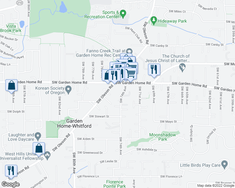 map of restaurants, bars, coffee shops, grocery stores, and more near 7661 Southwest 74th Avenue in Portland
