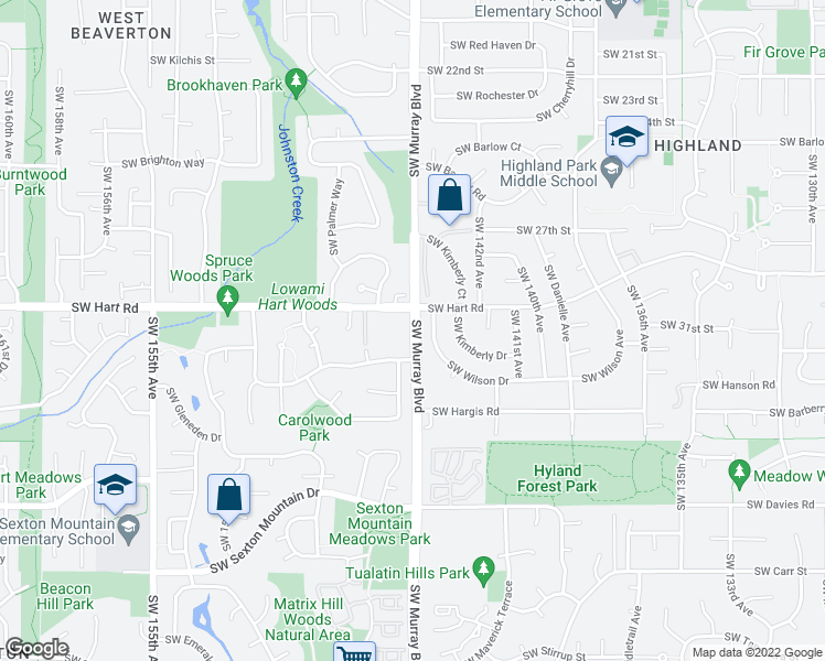 map of restaurants, bars, coffee shops, grocery stores, and more near Southwest Murray Boulevard in Beaverton