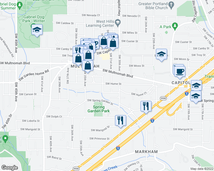 map of restaurants, bars, coffee shops, grocery stores, and more near 3128 Southwest Hume Street in Portland