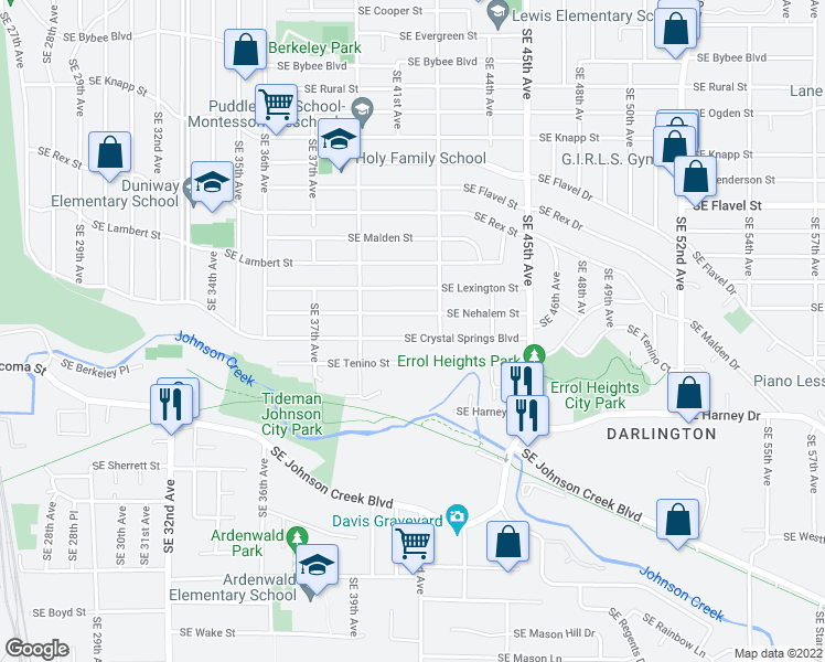 map of restaurants, bars, coffee shops, grocery stores, and more near 4127 Southeast Crystal Springs Boulevard in Portland