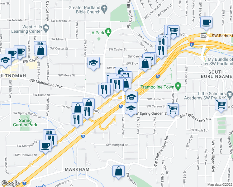 map of restaurants, bars, coffee shops, grocery stores, and more near Southwest Multnomah Boulevard in Portland
