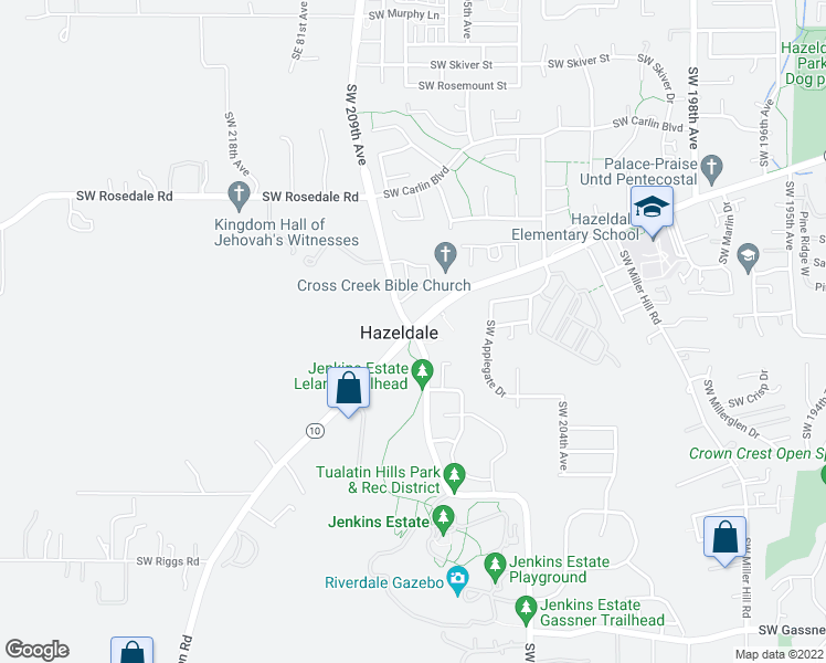 map of restaurants, bars, coffee shops, grocery stores, and more near Southwest Farmington Road in Beaverton