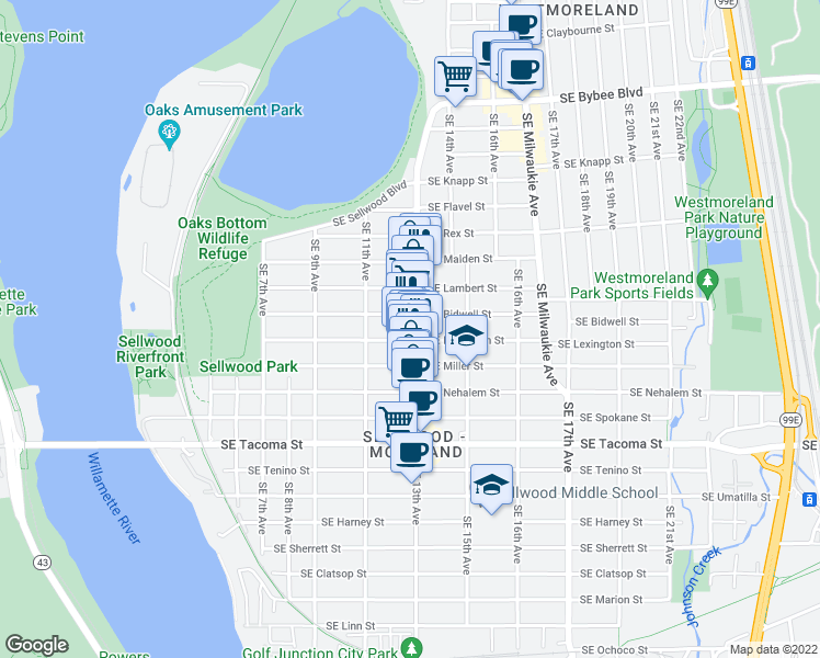 map of restaurants, bars, coffee shops, grocery stores, and more near 7875 Southeast 13th Avenue in Portland