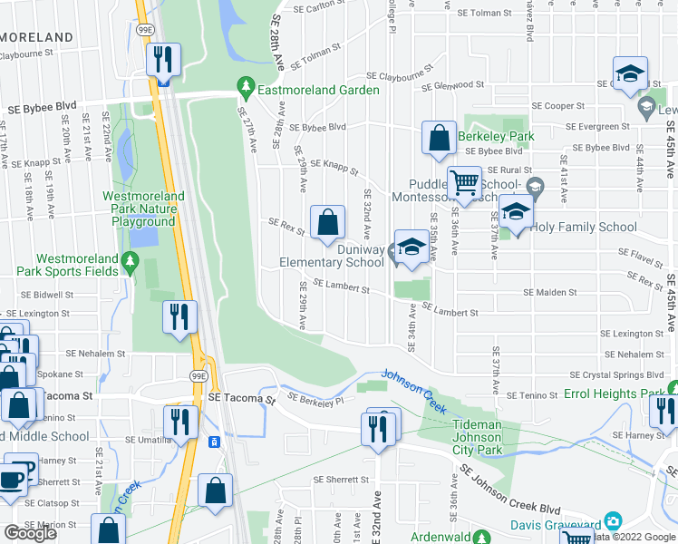 map of restaurants, bars, coffee shops, grocery stores, and more near 7715 Southeast 31st Avenue in Portland